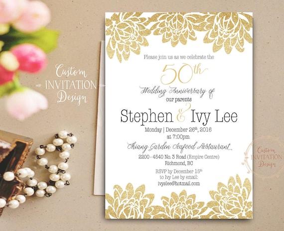 Golden Wedding Anniversary Invitations: Golden Wedding Anniversary Cheers To 50 Years Invitation