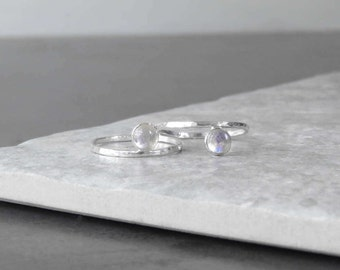 Dainty Moonstone Ring | Sterling Silver | Rainbow Moonstone | Minimalist Jewelry | Stacking Ring | Gemstone Ring  | Gift For Her
