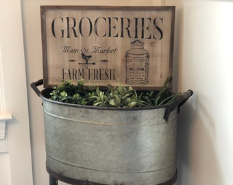 Rustic and Vintage Farm Fresh Mercantile wooden chalk sign
