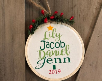 Personalized First Name Family Christmas Tree Ornament from Glendi Designs