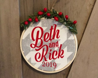 Personalized Christmas Ornament for Couples from Glendi Designs