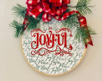 14inch Embrodery Hoop Joyful Christmas Greenery Wall Hanging from Glendi Designs
