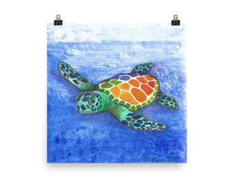 Sea Turtle is an original work in acrylic from Glendi Designs scanned and available as a poster