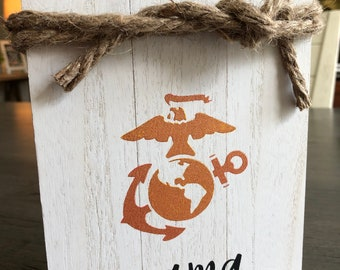 USA Military Army Navy Air Force Marines Coast Guard Wife or Mama Sign on Wood Pallet from Glendi Designs