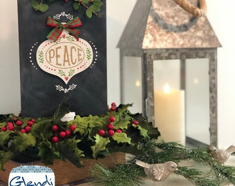 Doubles sided rustic wooden Christmas chalkboard art sign from Glendi Designs