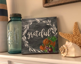 Fall wood sign with pumpkin and laurel wreath Grateful
