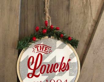 Personalized Last Name Family Christmas Ornament from Glendi Designs