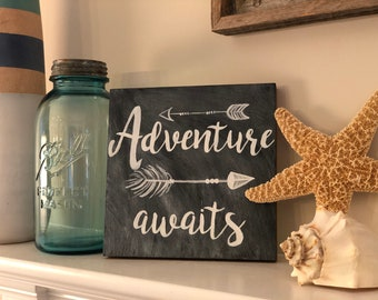 Adventure Awaits faux chalkboard art