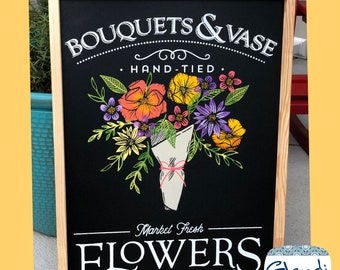 Fresh Flowers farmhouse and rustic art chalkboard sign from Glendi Designs