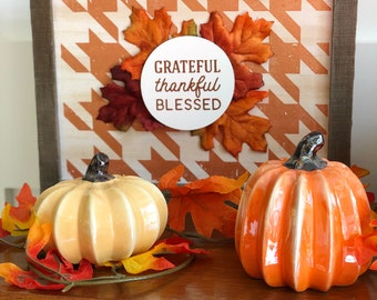 Rustic wooden fall sign Grateful Thankful Blessed by Glendi Designs
