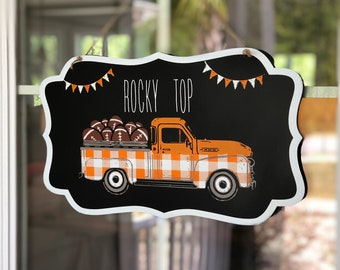 Personalized Customized College Football Vintage Truck Buffalo Plaid Wall Sign from Glendi Designs