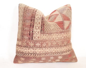 Kilim pillow 20x20 cover handwoven recycled cotton fabric strips pillow case 50x50 blue brown white boho bed throw turkish cushion case