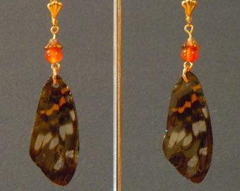 E363-Real Butterfly Wing earring with carnelian bead Earring