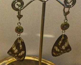 E462- Real Butterfly Wing earrings with Unakite and Tourmaline beads