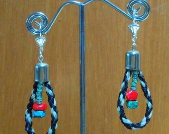 E324- Horse Hair Earring with Turquoise  and Coral beads horsehair jewelry