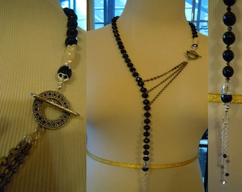 N77 Natural Onyx and swarovski Lariat Necklace with Freshwater pearl accent.