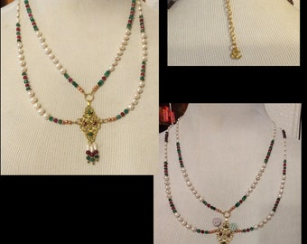 Custom Order ---- Emerald, Ruby and Freshwater Pearl Necklace