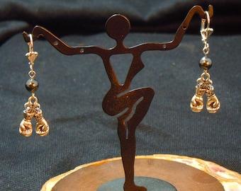 Boxing Earrings, Swarovski pearl bead earring