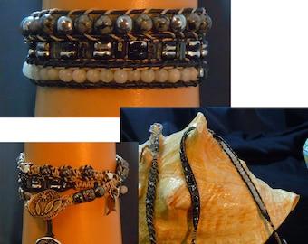 TW134  Triple Wrap Bracelet Gemstone bracelet
