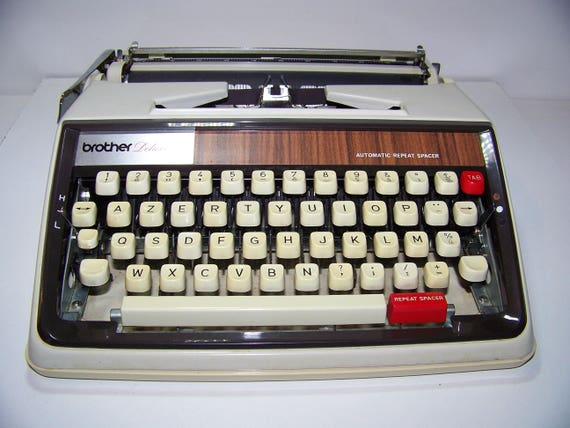 typewriter portable brother deluxe 1350 automatic vintage etsy rh etsy com