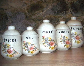 French vintage faience decoration kitchen spice jars