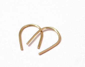 Pair Small Gold Filled Open Hoop Earrings, Sterling Silver, Arc Earrings. Gold Open Hoop Earrings, Minimalist Earrings, Everyday Earrings