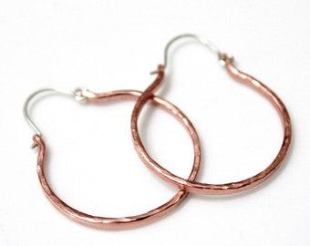 Rustic Hoop Earrings, Hammered Copper Rustic Jewelry, Hoops Earrings, Hammered Copper Hoop Earrings, Hammered Earrings, Hoop Earrings