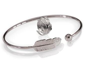 Silver Feather Bracelet Set