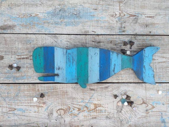 Wooden Whale Wall Sign Ocean Wall Decor Beach Wall Art Farm Decor Wall Hanging Coastal Nautical Aquamarine Green