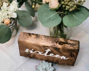 KANDJCREATES Rustic Wooden Wedding Table Numbers || Party Table Numbers || Numeros de Tabla