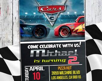 Disney Cars 3 Invitation Birthday Party