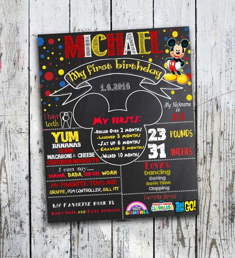 Birthday Poster Mickey Mouse Chalkboard First Birthday Poster Digital File First Birthday Sign Birthday Sign