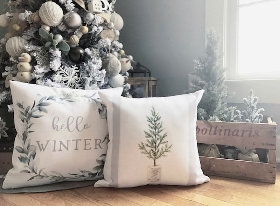Winter Farmhouse Pillows from Etsy