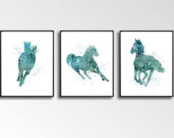 Set of 3 Horse Art, Horse Prints, Digital Horse, Turquoise Horses, Horse Watercolor, Large Wall Art, DIY Wall Art, Gift for Boy, Room Décor