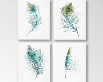 Set of 4 Feathers, Digital Feathers, Feather Prints, Printable Feathers, DIY Wall Art, Large Wall Art, Turquoise Blue, Watercolor Art