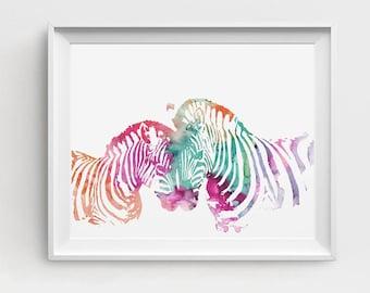 Zebra Art Print, Zebra Art, Zebra Decor, Zebra Printable, Digital Zebra, Large Wall Decor, Pink Blue, DIY Wall Art, Zebra Painting