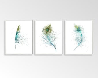 Set of 3 Feathers, Digital Feathers, Feather Prints, Triptych Wall Art, DIY Wall Art, Large Wall Art, Turquoise Blue, Watercolor Art