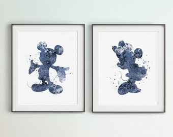 Set of 2 Disney Art, Mickey Mouse Print, Minnie Mouse Print, Digital Room Décor, DIY Wall Art,Navy Blue Color, Mickey Minnie Mouse, Gift