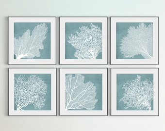Coral Art Print, Set of 6 Printables, White Coral Prints, Square Prints, Blue Background, DIY Large Wall Art, Sea Room Wall Décor, Gift