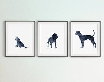 Set of 3 Plott Hound Prints, Growing Plott Hound Wall Art Printable, Navy Blue Art, Digital Files, DIY Large Wall Art, Bedroom Wall Décor