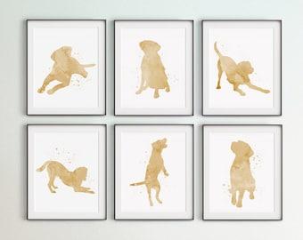 Set of 6 Labrador Prints, Digital Files, Large Wall Art, Yellow Labradors, Kid Room Décor, Gift, Bedroom Wall Decor, Watercolor Labrador