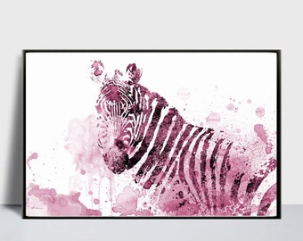 Zebra Art Print, Zebra Digital, Zebra Printable, Magenta Zebra, Zebra Wall Decor, DIY Wall Decor, Zebra Illustration, Large Zebra Print