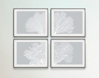 Set of 4 Corals, Digital Wall Art, Printable Corals, Gray Wall Art, DIY Large Art, Sea Life Decor, Horizontal Wall Art, Bathroom Decor, Gift