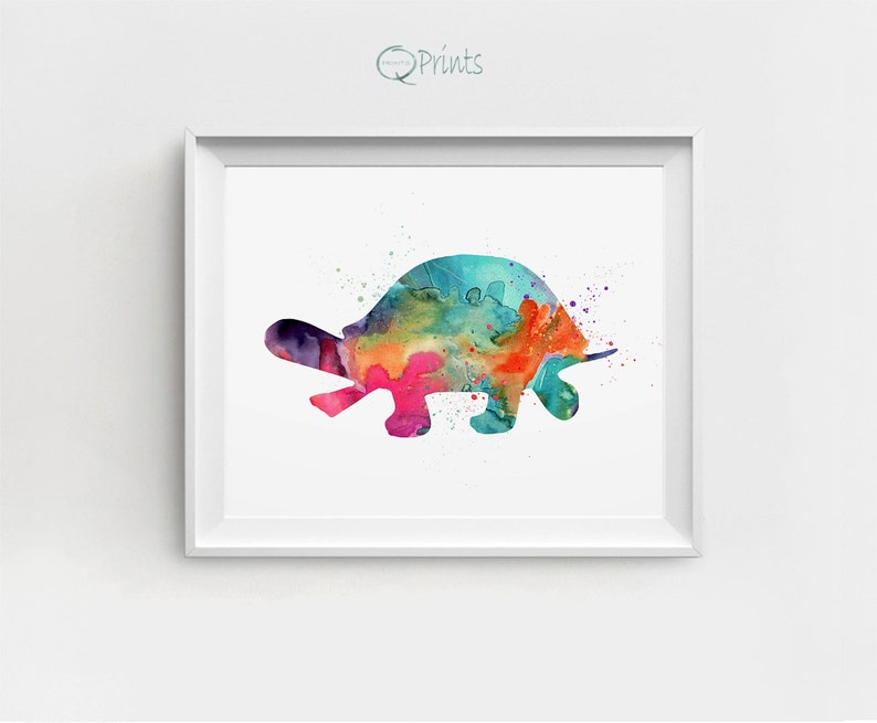 Turtle Art Print Printable Turtle Watercolor Turtle Colored image 0