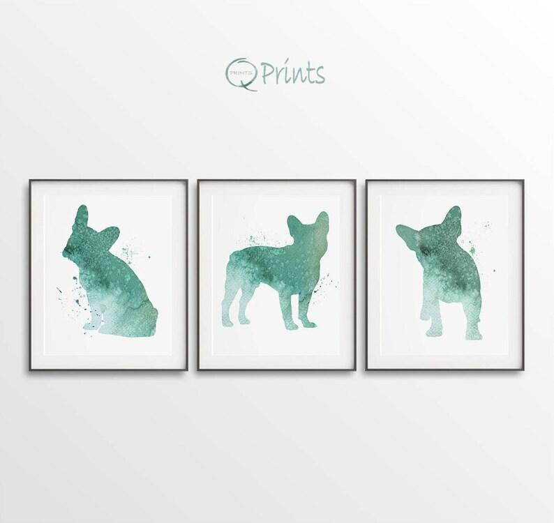 Digital Bulldog Art Diy Large Wall Art Set Of 3 Pink Dogs French Bulldog Print Pink
