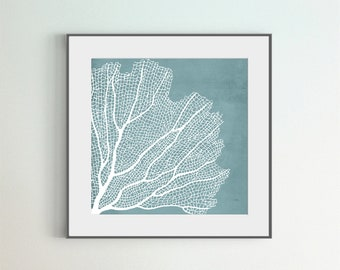 Coral Art Print, White Coral Print, Square Print, Blue Background, DIY Large Wall Art, Sea Coral Room Wall Décor, Bathroom Wall Decor, Gift