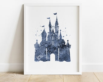 Disney Castle Print, Digital Room Decor, Navy Blue Color Castle, Disney Nursery Art, DIY Wall Art, Printable Art Print, Gift for Girl Boy