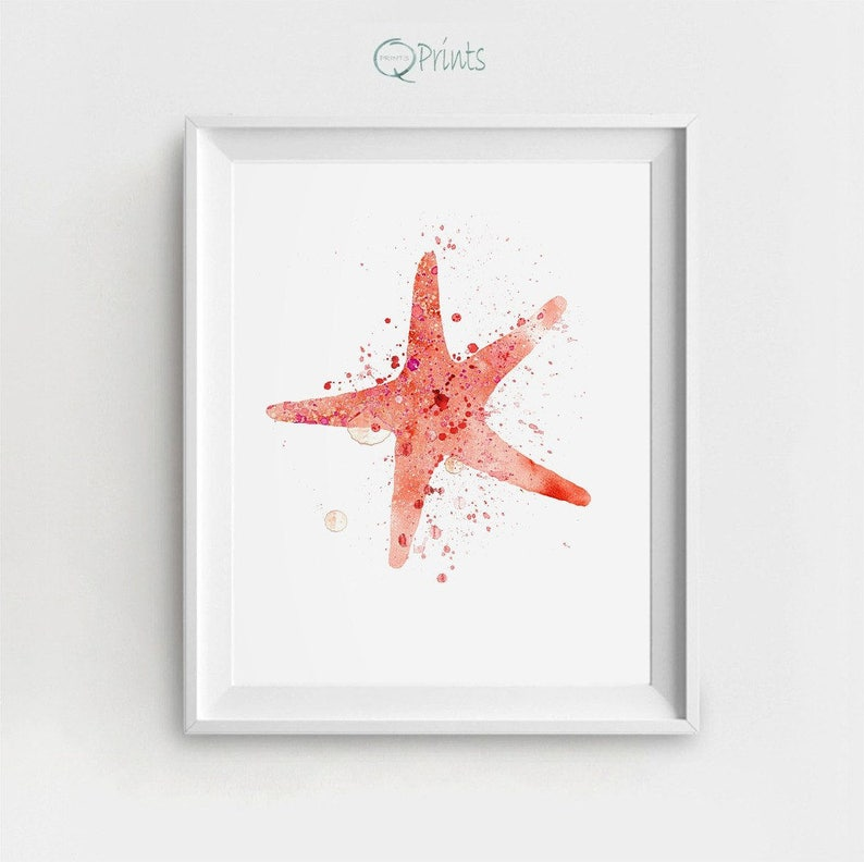 picture regarding Printable Starfish called Starfish Artwork Print, Printable Starfish, Electronic Nautical Artwork, Starfish Portray, Pink Starfish, Watercolor Starfish, Do it yourself Wall Decor, Major