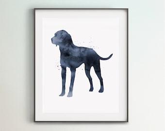 Plott Hound Print, Digital File, Printable Art, Navy Blue Dog, Poster, Large Printable, Living Room Decor, Bedroom Art, DIY Wall Art, Gift