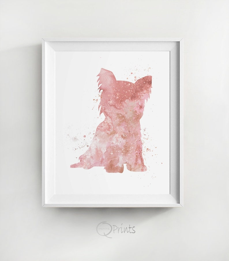 Instant Terrier Kid Room Decor Pink Illustration Dog Lover Gift Yorkshire Terrier Puppy Poster DIY Wall Picture Large Wall Decor